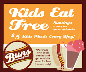 Buns of Chapel Hill Kids Eat Free Sundays 11am-4pm